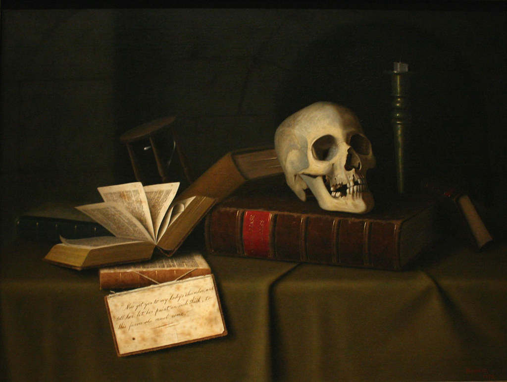 """memento Mori, 'To This Favour' by William Michael Harnett"" by Bob Ramsak is licensed with CC BY-NC-ND 2.0. To view a copy of this license, visit https://creativecommons.org/licenses/by-nc-nd/2.0/"